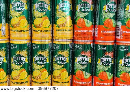 Tyumen, Russia-november 20, 2020: Perrier Juice Pineapple Mango Strawberry Kiwi. Carbonated Drinks