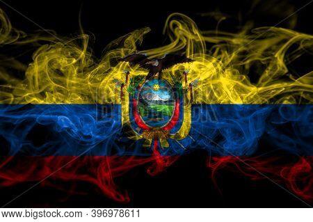 Ecuador, Ecuadorian Smoke Flag Isolated On Black Background