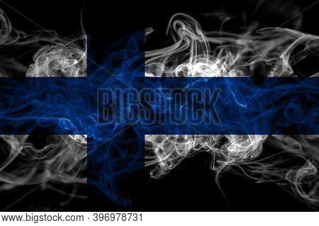 Finland, Finnish Smoke Flag Isolated On Black Background