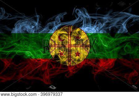 Mapuches Smoke Flag Isolated On Black Background