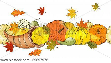 Vector Seamless Brush Of Cornucopia, Symbol Of Thanksgiving, Pumpkin And Squash, Leaves Of Trees.