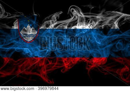Slovenia, Slovenian Smoke Flag Isolated On Black Background