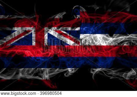 United States Of America, America, Us, Usa, American, Hawaii, Hawaiian Smoke Flag Isolated On Black