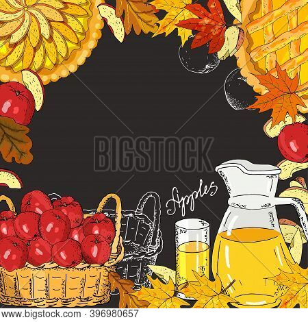 Square Template With Apples, Apple Slices, Apple Pies, Apple Juice Jug, Basket Of Harvest On A Black