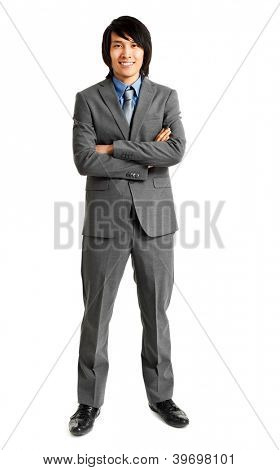 Handsome Chinese young businessman portrait full length