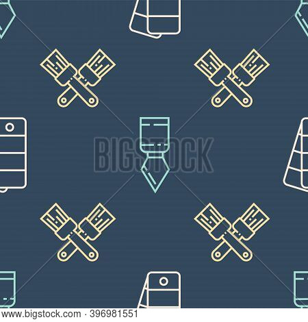 Set Line Palette, Crossed Paint Brush And Palette Knife On Seamless Pattern. Vector
