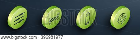 Set Isometric Barbed Wire, Barbed Wire, Bullet And Target Sport Icon. Vector