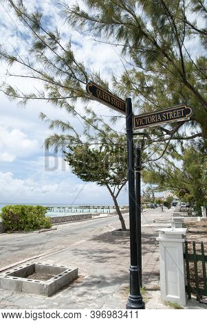 The Pole On A Crossroad Of Queen And Victoria Streets In Cockburn Resort Town On Grand Turk Island (