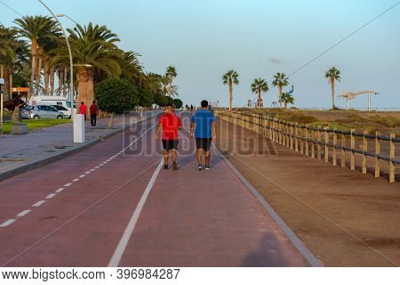 Morro Jable, Fuerteventura, Spain: 2020 October 08: People Walking In The Time Of Covid 19 Morro Jab