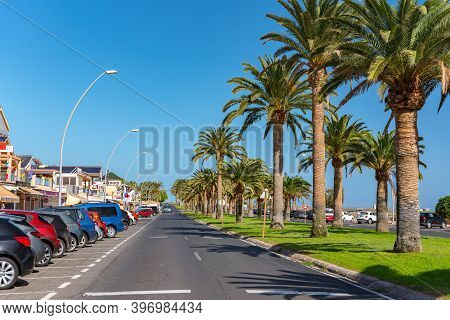 Morro Jable, Fuerteventura, Spain: 2020 October 08: Main Street Of Morro Jable On The Island Of Fuer