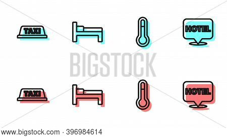 Set Line Meteorology Thermometer, Taxi Car Roof, Bed And Location Hotel Icon. Vector