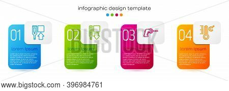 Set Line Digital Thermometer, Medical, And Meteorology. Business Infographic Template. Vector