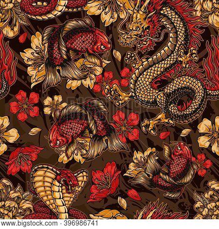 Vintage Japanese Elements Seamless Pattern With Fantasy Dragon Snake Koi Carp Sakura And Chrysanthem