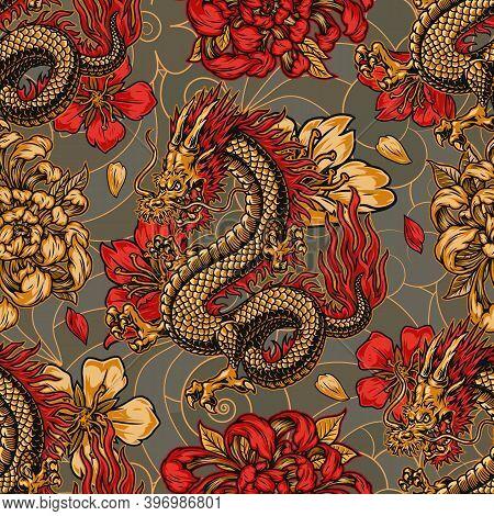 Japanese Style Vintage Seamless Pattern With Horned Fantasy Dragon Chrysanthemum And Sakura Flowers