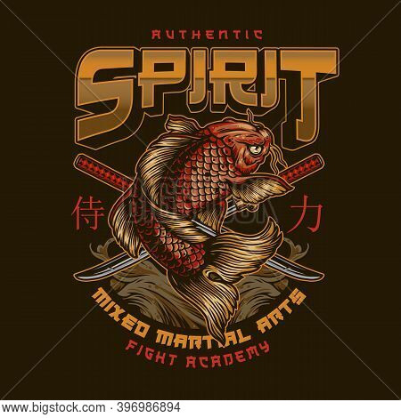 Vintage Fight Academy Label With Inscriptions Japanese Koi Fish And Crossed Katanas Isolated Vector
