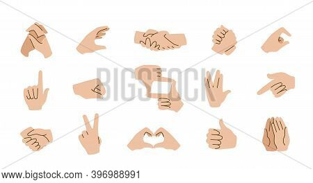 Hand Gestures Emoticons. Social Communication Icons With Pointing Fingers, Open Palms, Arms And Fist