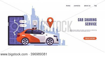 Car Sharing Landing Page. Web Interface Design With Text And Buttons. City Transportation, Auto Rent
