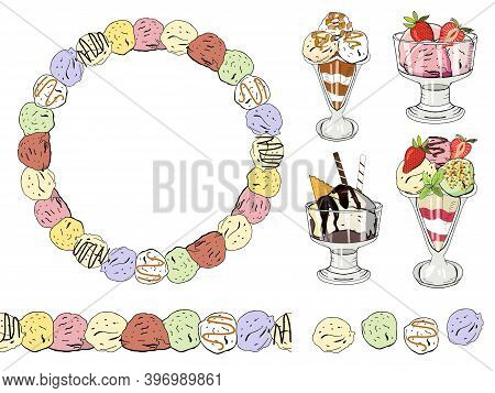 Ice Cream Set. Round Frame, Seamless Border, Ice Cream In The Cream Bowls, Multi-colored Ice Cream B
