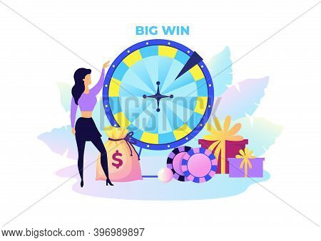 Fortune Wheel. Cartoon Woman With Presents And Money. Big Win In Lottery Concept. Rotating Circle Fo