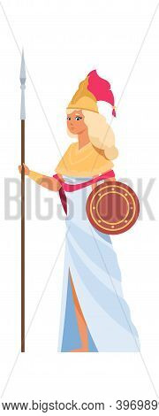 Ancient Greek Goddess Hera. Cartoon Divine Woman In White Dress And Helmet With Spear And Shield. Me