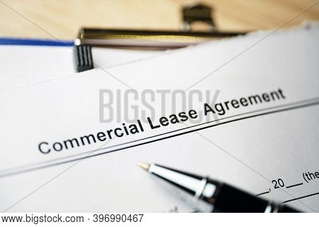 Legal Document Commercial Lease Agreement On Paper.
