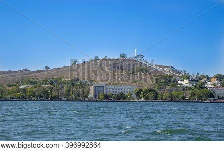 Kerch, Crimea - September 16, 2020: View Of The City Center From The Sea