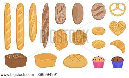 Set Of Vector Flat Realistic Baking Pastry Products For Bakery Menu, Recipe Book, Website. Large Bre