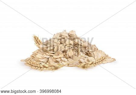 Oat Flakes And Oat Ears On A White Background