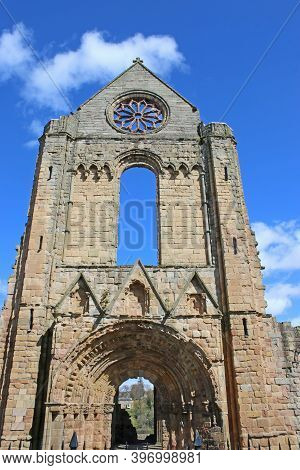 Ruined Walls Of Jedburgh Abbey In Scotland