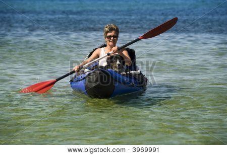 Kayak Woman And Dog