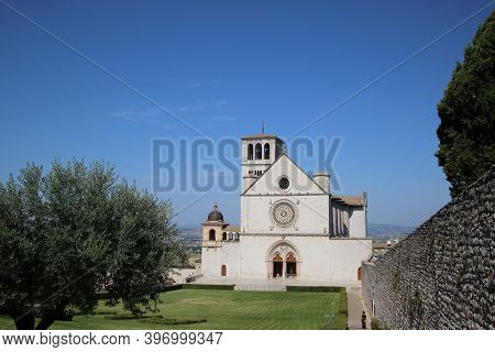 Basilica Of Saint Francis In Assisi, Italy. High Quality Photo