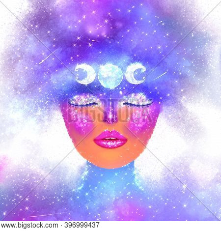 Futuristic Space Multicolor Illustration. An Abstract Girl With Closed Eyes In The Cosmic Imaginatio