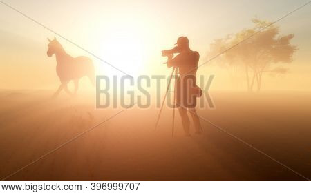 Silhouette of a tourist with a camera on a sunset.,3d render