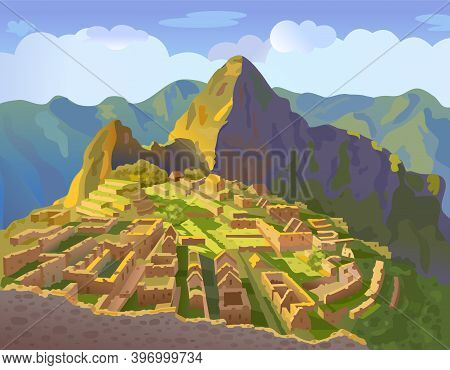 Machu Picchu In Peru. Historical Landmark. City Of The World Countries Vacation Travel Landmarks. So