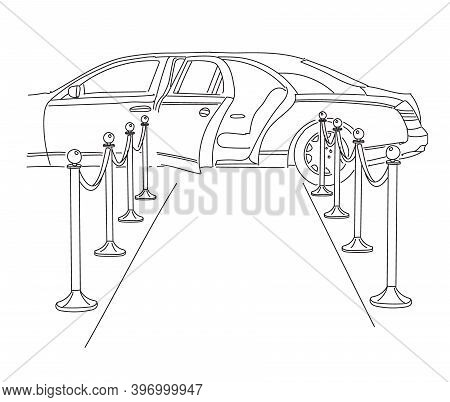 Limousine With An Open Door On The Red Carpet. The Release Of A Movie Or Show Business Star. Vector