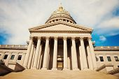 Charleston West Virginia - State Capitol Building with the clouds. poster