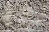 Bas-relief composition of stone elephants in Thailand poster