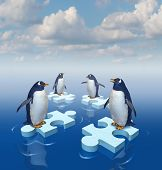Coming together with common purpose to assemble a team partnership to form a strong group with four penguins merging floating chunks of ice in the shape of puzzle pieces as insurance.. poster