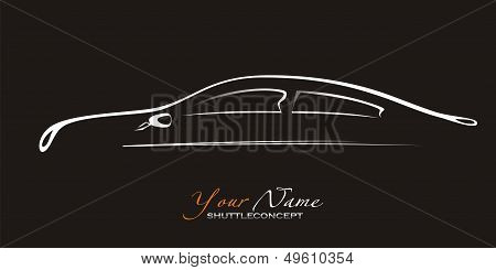 Car. Silhouette Of The Old Car On A Black Background. Vector Art In Eps Format.