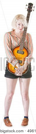 Coy Lady Holding Guitar