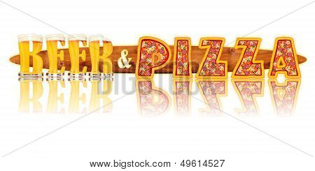 BEER ALPHABET letters BEER and PIZZA
