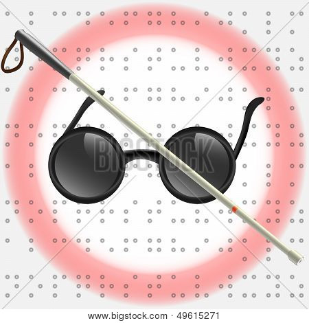 Art Illustration of white stick and glasses for visually impaired poster