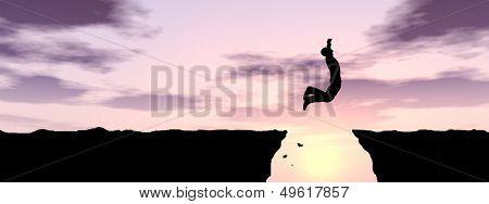 Konzept oder konzeptionelle jungen Mann oder Geschäftsmann Silhouette von Klippe über Lücke Sonnenuntergang glücklich springen oder