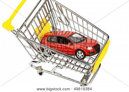 a car in the shopping cart as a symbol for car buying and leasing poster
