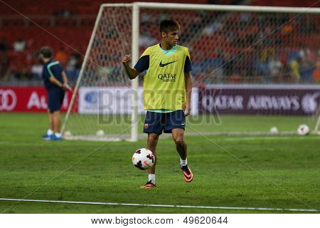KUALA LUMPUR - AUGUST 9: FC Barcelona's Neymar Jr. practices during training at the Bukit Jalil Stadium on August 09, 2013 in Malaysia. FC Barcelona is on an Asia Tour to Malaysia.
