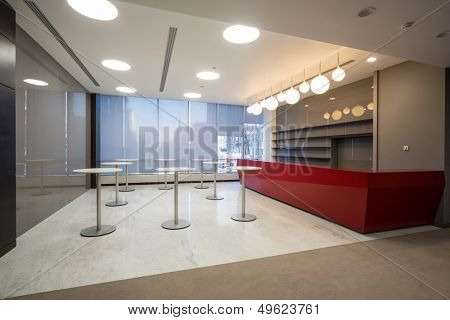MOSCOW - DEC 20: Empty space for coffee at the main office of Rosbank on December 20, 2012 in Moscow, Russia.