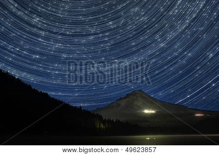 Star Trails Over Mount Hood at Trillium Lake Oregon with Perseid Meteors poster