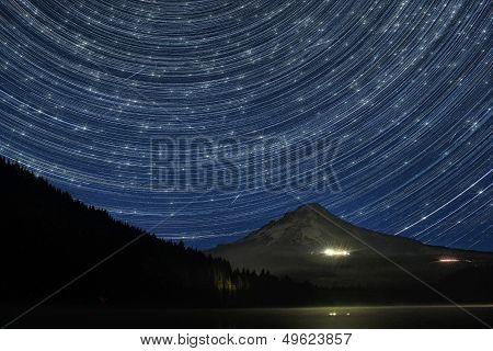 Star Trails Over Mount Hood