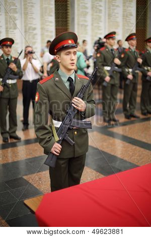 MOSCOW - MAY 19: Russian athlete candidate to participate in Olympic Games in 2014 takes military oath at Museum of Great Patriotic War on Poklonnaya Hill, on May 19, 2013 in Moscow, Russia.