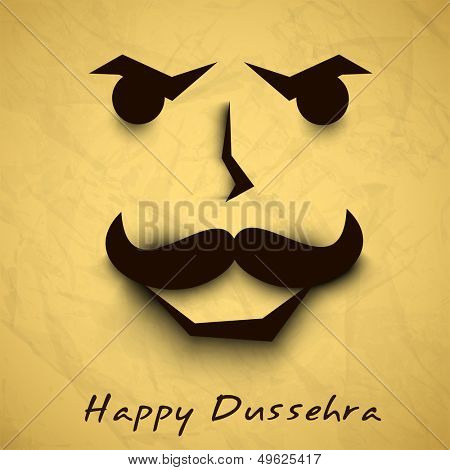 Indian festival Happy Dussehra background with Ravana Face.  poster